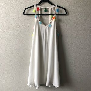 White Boho Parachute Dress W/ Beads & Tassels Sz L